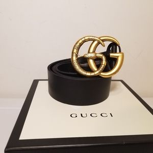 Gucci Snake Buckle Black Leather